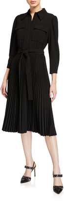 Elie Tahari Ere 3/4-Sleeve Pleated Skirt Shirtdress