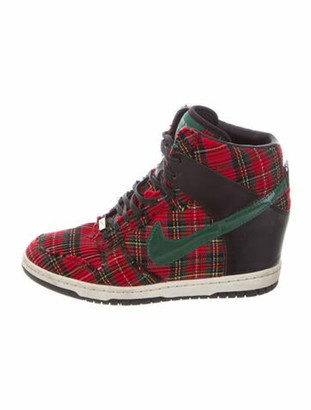 Nike Plaid Print Raw-Edge Trim Wedge Sneakers