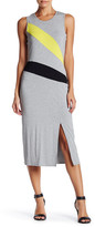 Vince Camuto Front Slit Colorblock Sleeveless Midi Dress (Petite)