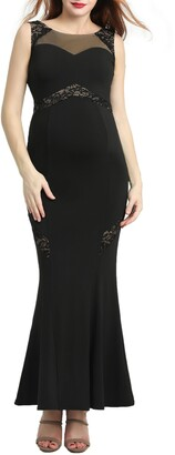 Kimi and Kai Corinne Lace Trim Maternity Mermaid Maxi Dress