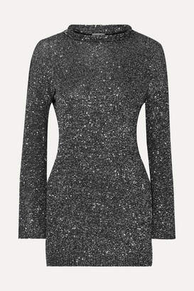 Saint Laurent Sequined Stretch-knit Mini Dress - Silver