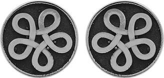 Celtic Solid .925 Sterling Silver Knot Symbol Plain Silver Stud Earrings for Women