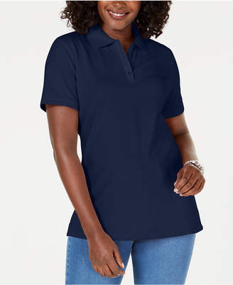 Karen Scott Petite Cotton Pique Polo Top