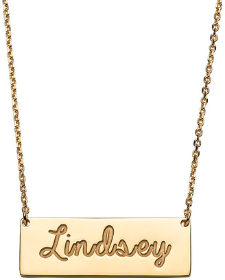 Limoges Jewelry Women's Necklaces GOLD - 14k Gold-Plated Engraved Script Personalized Bar Necklace