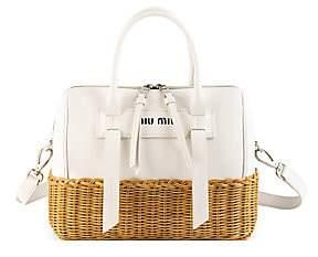 Miu Miu Women's Midollino Leather & Rattan Satchel