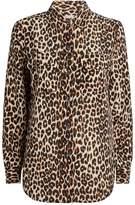 Equipment Leopard Print Silk Shirt, Beige, XS