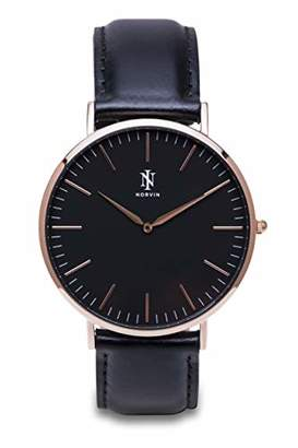 Norvin Unisex Adult Analogue Classic Quartz Watch with Leather Strap 9911