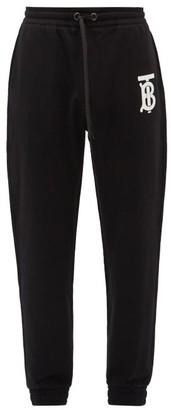 Burberry Gresham Tb-print Cotton Track Pants - Black