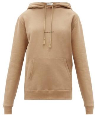 Saint Laurent Logo-print Cotton-jersey Hooded Sweatshirt - Camel