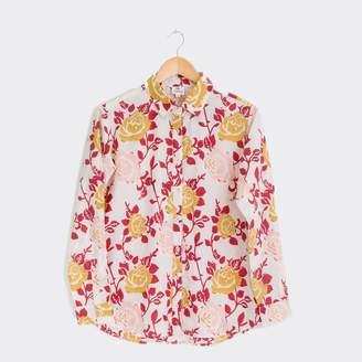Jamini - Pink And Mustard Flower Print Shirt - Pink