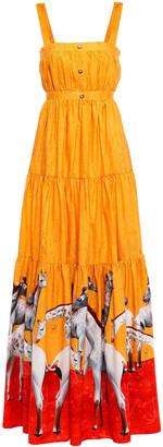 Stella Jean Tiered Printed Cotton-poplin Maxi Dress