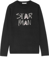 Bella Freud Star Man Metallic Intarsia Wool-blend Sweater - Black