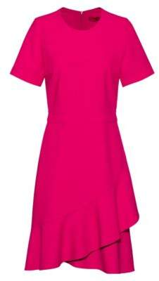 HUGO Short-sleeved dress with asymmetric hemline and side pocket