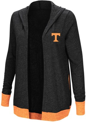 Colosseum Women's Charcoal Tennessee Volunteers Plus Size Steeplechase Open Hooded Tri-Blend Cardigan