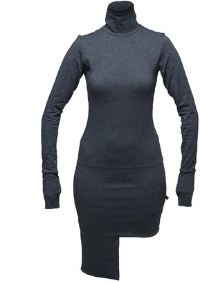 Non+ Non325 Dark Grey Turtle Neck Dress With Asymmetric Skirt Part
