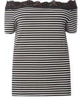 Dorothy Perkins Womens DP Curve Plus Size Black Lace Trim Bardot Top- Black