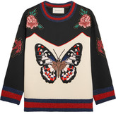Gucci Embroidered Bonded Cotton-jersey Sweatshirt - Ivory