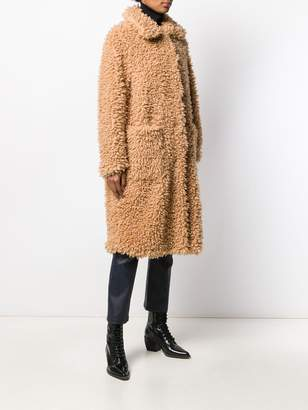 STAND STUDIO long faux-shearling coat