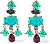Oscar de la Renta Dahlia Gold-plated, Resin And Swarovski Crystal Clip Earrings - Blue