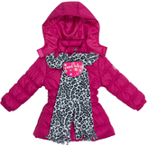 Pink Platinum Raspberry Belted Long Puffer Jacket Set - Toddler & Girls