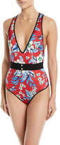 Diane von Furstenberg Floral V-Neck One-Piece Swimsuit with Belt