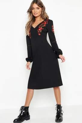 boohoo Embroidered Blouson Sleeve Midi Dress