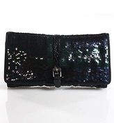 Ralph Lauren Multicolored Sequined Leather Trim Clutch Handbag
