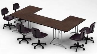 Meeting Seminar 3 Piece Reactangular Conference Table Set Team Tables Top Finish: Java