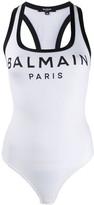 Balmain logo print bodysuit