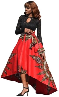 Younthone Elegant Ladies Party Dress Ethnic Retro Printed Umbrella Skirt African Women Printed Summer Boho Long Dress Beach Evening Party Maxi Skirt Cocktail Prom Wedding Party Daily Irregular Skirt(Red XL)