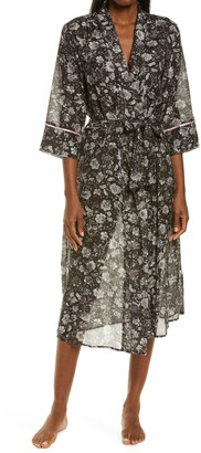 Papinelle Louis Dark Floral Cotton & Silk Robe