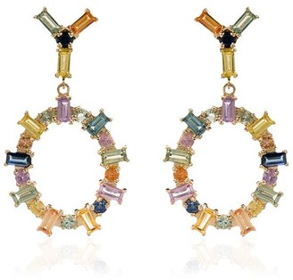 Ileana Makri 18K yellow gold Rainbow sapphire drop hoop earrings