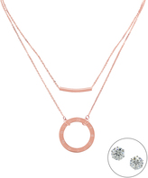 Rose Gold Bar & Roman Numeral Pendant Necklace & Stud Earrings