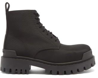 Balenciaga Strike Nylon Lace-up Boots - Black
