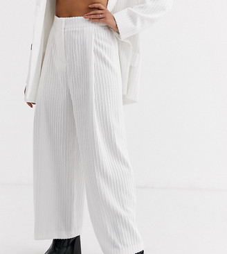ASOS DESIGN petite cream cord wide leg suit trousers