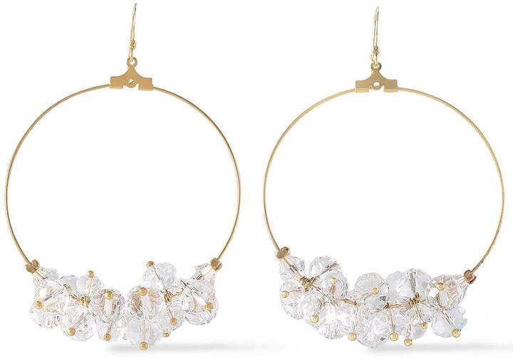 Kenneth Jay Lane Gold-tone Bead Hoop Earrings