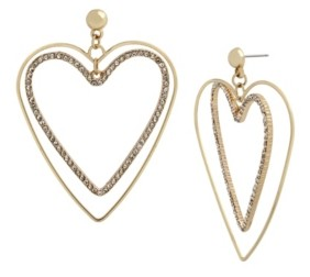 Jessica Simpson Pave Heart Drop Earrings