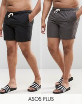 Asos Plus Swim Shorts In Black & Grey In Mid Length 2 Pack Save