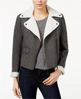 Armani Exchange Faux-Fur-Trim Bomber Jacket