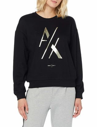 A|X Armani Exchange Women's Classic Long Sleeved Pullover with Large Contrasting AX Logo