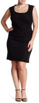 Marina Sleeveless Asymmetric Pleated Sheath Dress (Plus Size)