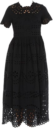 RED Valentino Broderie Anglaise Flared Dress