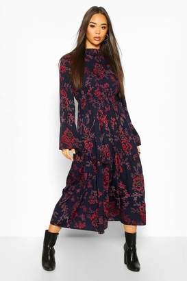 boohoo Floral Paisley High Neck Midi Dress