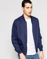 Asos Wool Mix Pinstripe Bomber Jacket In Blue