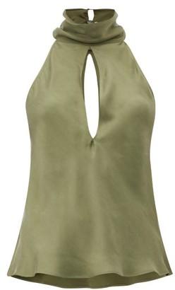 Worme - The High Neck Sandwashed-silk Halterneck Blouse - Womens - Khaki