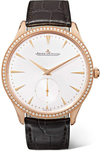 Jaeger-LeCoultre JaegerLeCoultre - Master Ultra Thin Small Second 38.5mm 18-karat Rose Gold, Alligator And Diamond Watch