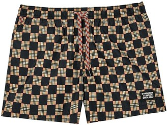 Burberry Chequer Print Drawcord Swim Shorts