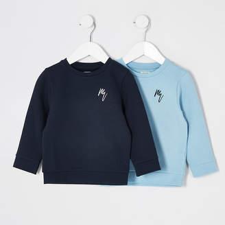 River Island Mini boys blue 'rebel' sweatshirt 2 pack