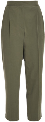 Brunello Cucinelli Cropped Pleated Cotton-twill Tapered Pants