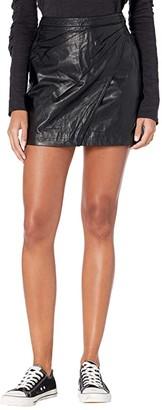 Free People Fake Out Faux Wrap Skirt (Black) Women's Skirt